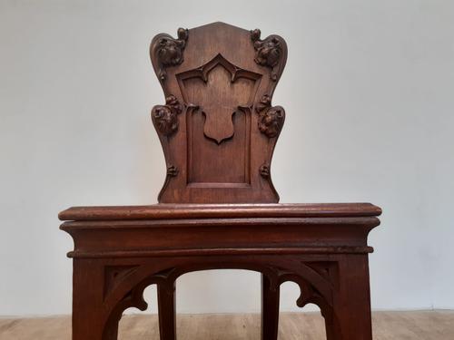 Bold & Impressive Gothic Oak Hall Chair (1 of 6)