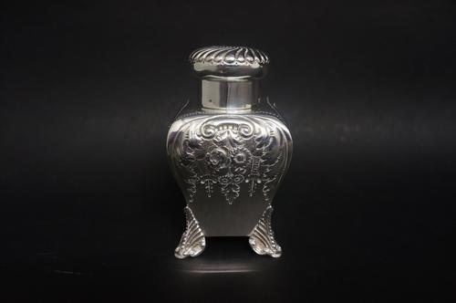 Late Victorian Silver Bombe Shaped Tea Canister (1 of 4)
