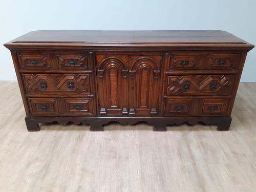 Moulded Front Victorian Oak Dresser Base circa 1860 (1 of 7)