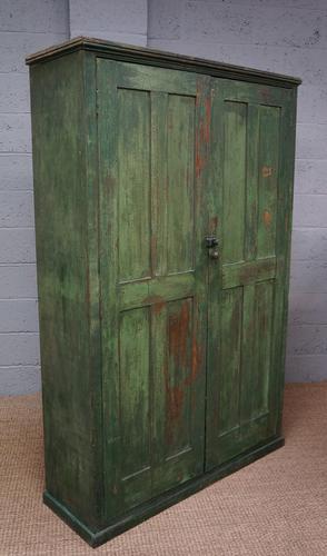 Vintage Green Painted Pine Cupboard (1 of 1)
