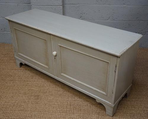Vintage Light Grey Painted Pine Low Cupboard (1 of 1)