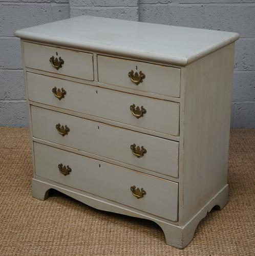 Vintage Light Grey Painted Pine Chest of Drawers (1 of 1)
