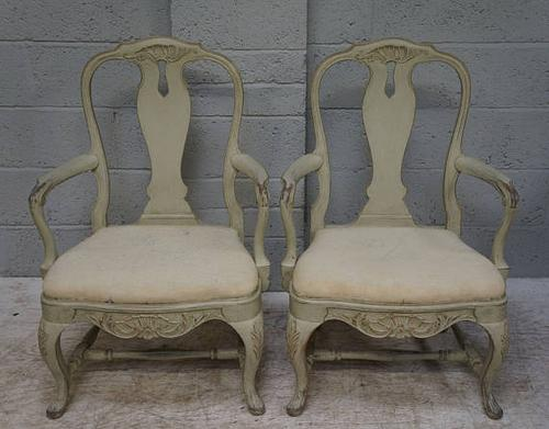 Pair of Rococo Style Painted Open Armchairs c.1900 (1 of 1)