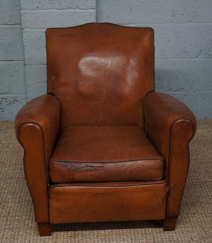 Vintage French Light Brown Leather Club Armchair (1 of 1)