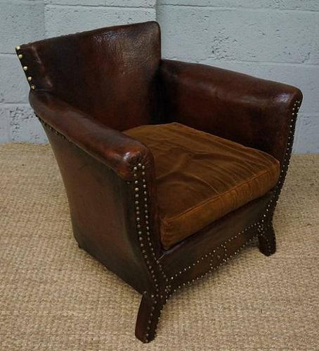Vintage Small Dark Brown Leather Armchair (1 of 1)