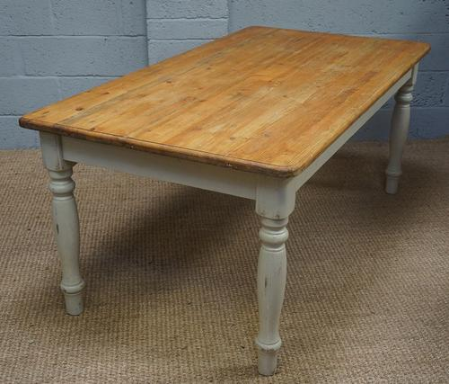 Vintage White Painted Pine Kitchen Table (1 of 1)