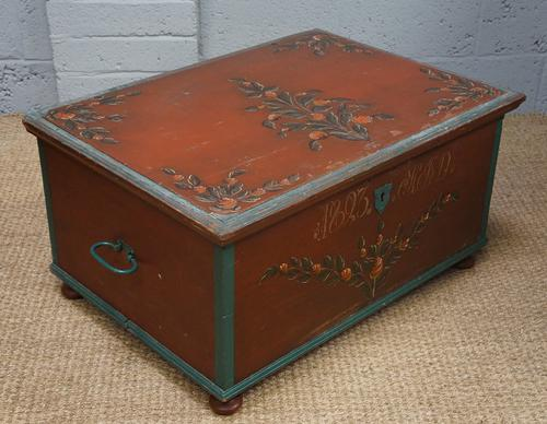 19th Century Painted Pine Blanket Box (1 of 1)