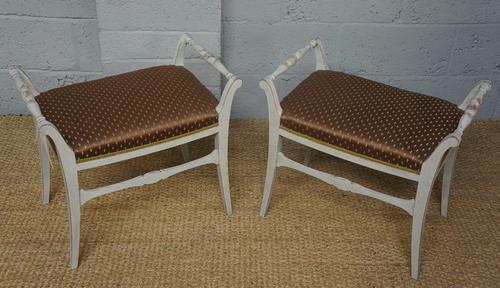 Pair of Biedermeier Style Painted Stools (1 of 1)
