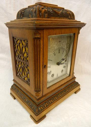 French Oak & Walnut Mantel Clock - Mougin Paris (1 of 1)