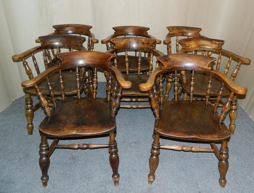 Set of 8 Smokers Bow Chairs c.1860 (1 of 1)