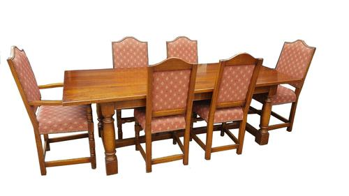 Quality Solid Oak Refectory Dining Table & 6 Chairs (1 of 9)