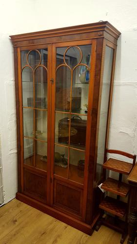 Large Reprodux Bevan Funnell Yew Wood Bookcase Display Cabinet (1 of 1)