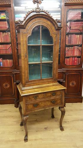 Quality Walnut Queen Anne Design Bookcase On Stand (1 of 1)