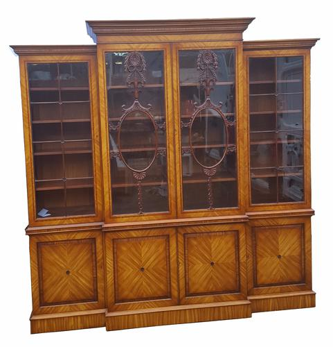 Stunning Quality Satinwood Breakfront Bookcase (1 of 1)