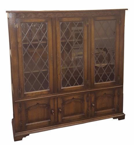 Quality Triple Oak Low Bookcase (1 of 1)