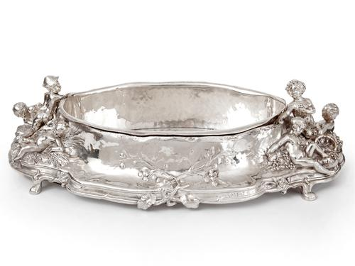 Antique Silver Plated Jardiniere with Scenes of Cherubs Picking Grapes & Cherubs in a Barley Field (1 of 8)