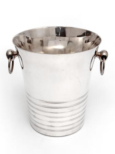 Large Art Deco Style Silver Plated French Ice Bucket with Looped Handles (1 of 3)