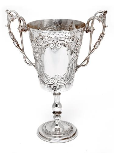 Antique Two Handle Silver Plated Trophy Cup Chased with Scrolls & Flowers (1 of 4)