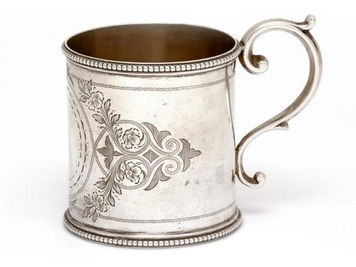 Victorian Silver Christening Mug Engraved with Floral Scenes (1 of 4)