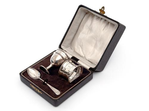 Silver Three Piece Christening Set in a Plain Simple Design (1 of 5)