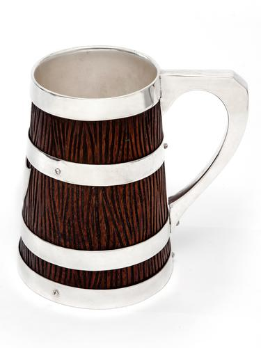 Victorian Oak & Silver Plated Mug with a Tapering Rustic Carved Body (1 of 3)