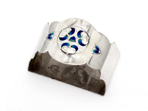Jacobs & Son Demi-Lune Silver & Enamel Napkin Ring (1 of 3)