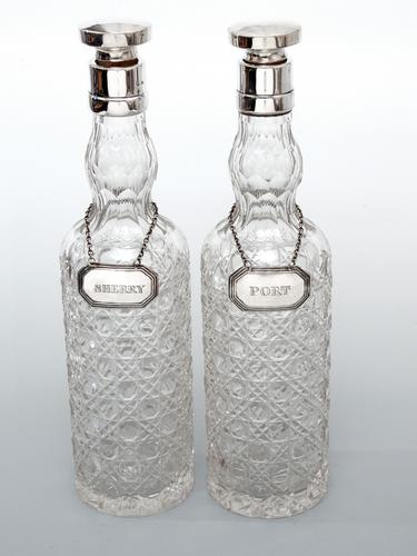 Pair of Chester Silver Spirit Decanters with Hobnail Cut Glass Bodies (1 of 5)