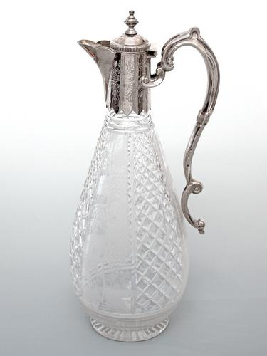 Victorian Silver Plate & Cut Glass Claret Jug Engraved with Grapes & Vines (1 of 4)