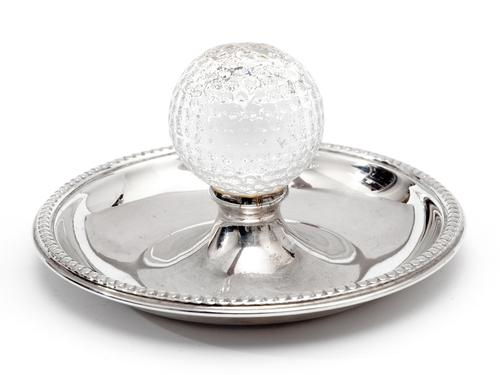 Vintage Golf Ash Tray in Silver Plate with a Central Glass Golf Ball (1 of 3)