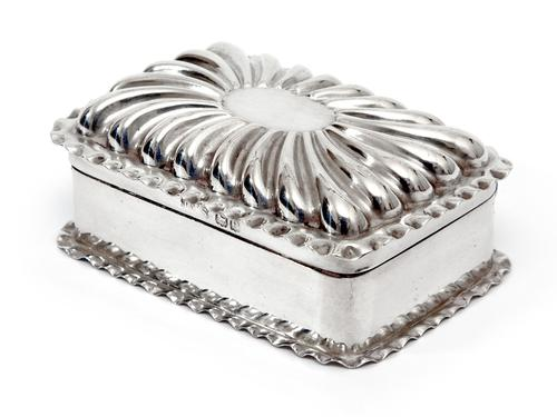 Victorian Silver Jewellery or Trinket Box with a Fluted Domed Hinged Lid (1 of 4)