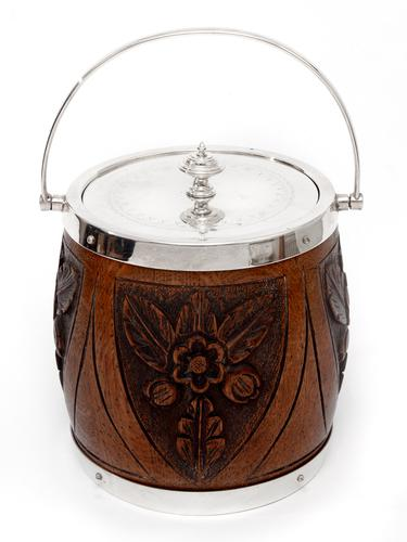 Edwardian Silver Plate & Oak Biscuit Barrel or Ice Pail with Four Carved Shields (1 of 5)