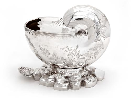 Victorian Silver Plated Nautilus Shell Spoon Warmer (1 of 3)