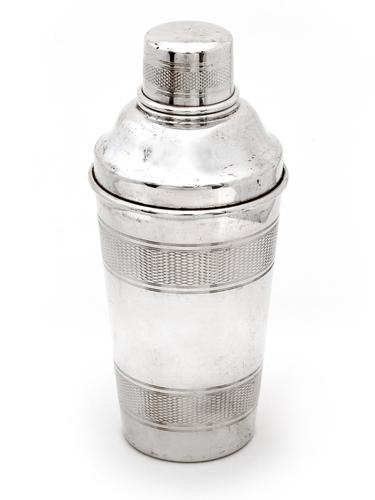 Silver Plated Three Section Cocktail Shaker with Three Engine Turned Bands (1 of 2)