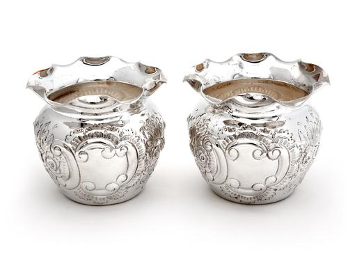 Pair of Victorian Globe Shaped Silver Plated on Copper Flower Pots (1 of 3)