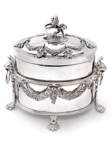 Victorian Atkin Brothers Silver Plate Box with Lion Finial and Removable Cast Frame (1 of 4)