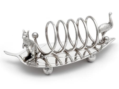 Antique Australian Silver Plated Toast Rack with a Kangaroo and an Emu (1 of 1)
