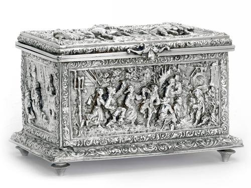 Decorative Victorian Electrotype Jewellery Box with Scenes of Soldiers and Villagers (1 of 1)