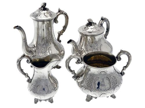 Victorian Baluster Form Four Piece Silver Tea & Coffee Service (1 of 7)