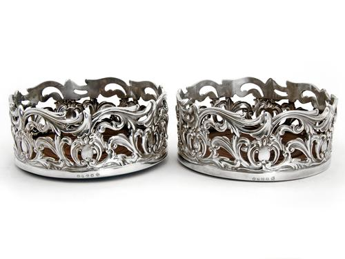 Impressive Pair of Victorian Silver Plated Coasters (1 of 1)