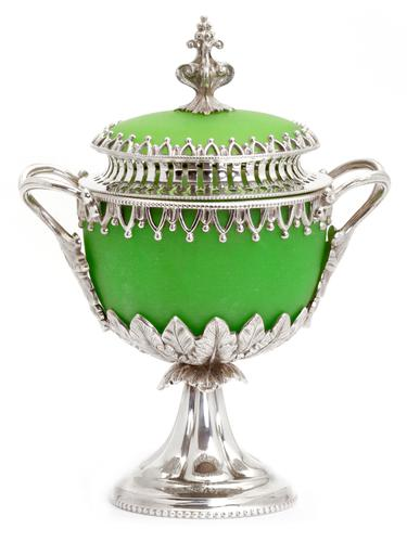 Decorative Victorian Silver Plate Cast Sugar Urn with Green Opeline Glass Liner (1 of 1)