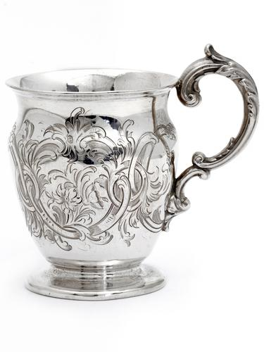 Childs Antique Silver Christening Mug Hand Engraved with a Scroll and Floral Design (1 of 1)