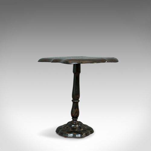 Antique Table, Ebonised, Papier Mache, Mother of Pearl, Side, Lamp, Wine, Tilt (1 of 7)