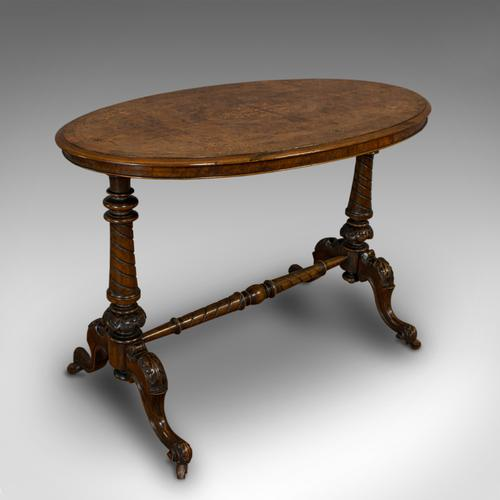 Antique Oval Table, English, Burr Walnut, Centre, Side, Victorian c.1870 (1 of 12)