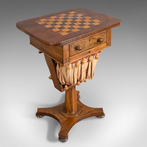 Antique Games Table, English, Mahogany, Chess, Workstation, Victorian c.1860 (1 of 12)