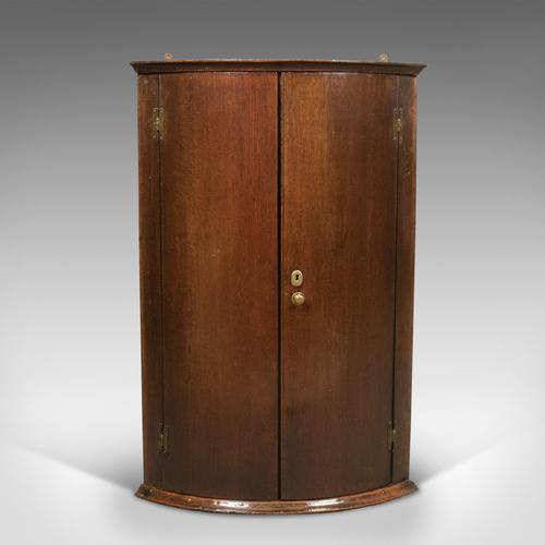Georgian Antique Bow Fronted Corner Cabinet in Mahogany 18th Century c.1780 (1 of 1)