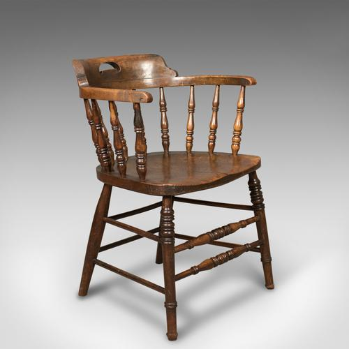 Victorian Antique Bow-Back Chair, English Elm Windsor c.1870 (1 of 8)