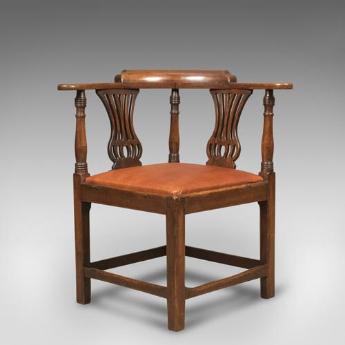 Victorian Antique Bow-Back Corner Chair, English Oak c..1880 (1 of 1)