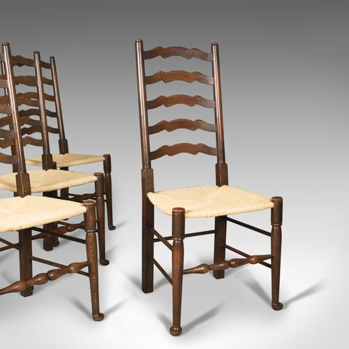 Antique Set of 4 'Wavy Line' Ladder Back Dining Chairs, Edwardian c.1910 (1 of 1)
