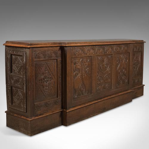Antique Long Cupboard English Carved Oak Dresser Base Cabinet c.1700 (1 of 1)