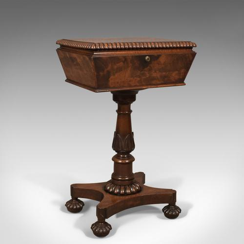William IV Antique Teapoy, English Flame Mahogany Side Table c.1835 (1 of 1)